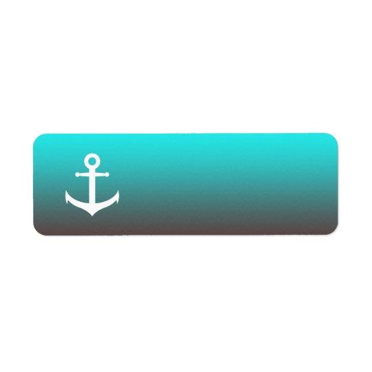 Etiqueta Ancla blanca del rojo el | de la aguamarina de la
