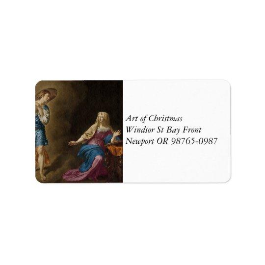 Etiqueta Ángel y Maria del anuncio