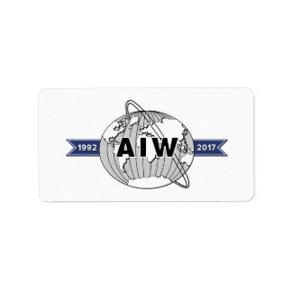 Etiqueta Aniversario Logo-18 de AIW 25to por la hoja