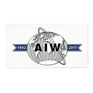 Etiqueta Aniversario Logo-8 de AIW 25to por la hoja