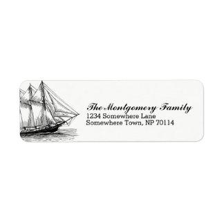 Etiqueta Apellido náutico de la nave y del Schooner del