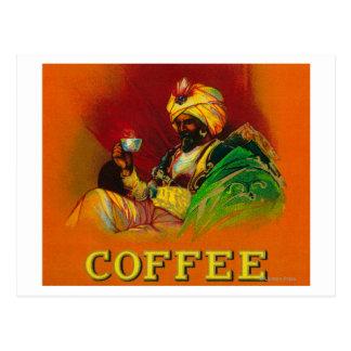 Etiqueta árabe del café del hombre postal