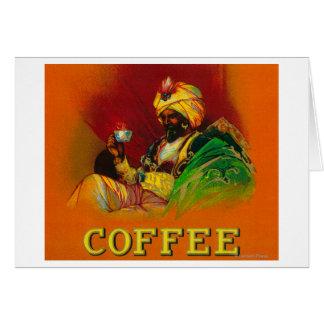 Etiqueta árabe del café del hombre tarjeta