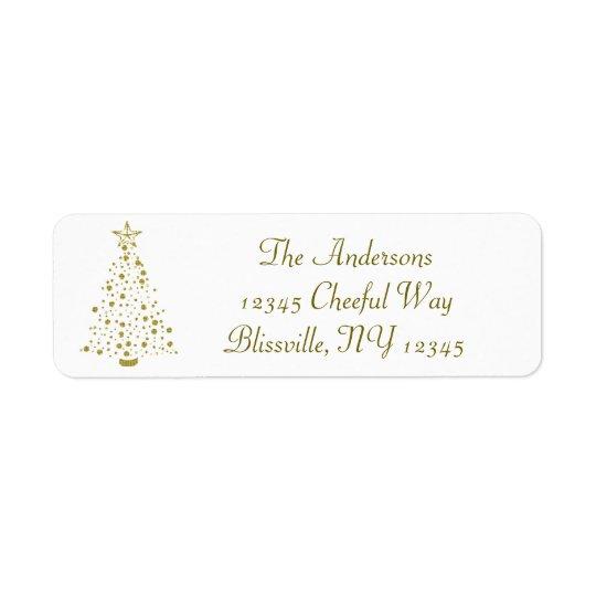 Etiqueta Árbol de navidad del confeti del oro