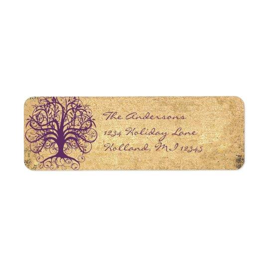 Etiqueta Árbol del remolino del ciruelo en el remite del