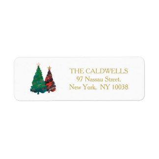 Etiqueta Árboles de navidad brillantes pintados a mano de