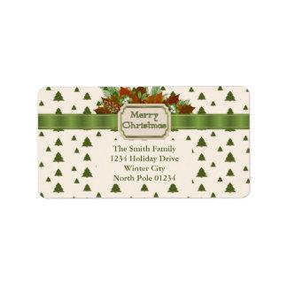 Etiqueta Árboles de pino con la cinta de las Felices