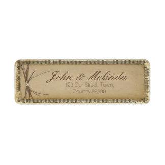 Etiqueta Arpillera, ramitas y guita ID132