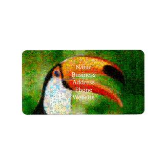 Etiqueta Arte del collage-toucan de Toucan - arte del