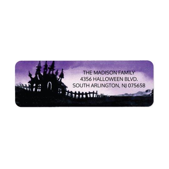 Etiqueta asustadiza del remite de Halloween de la