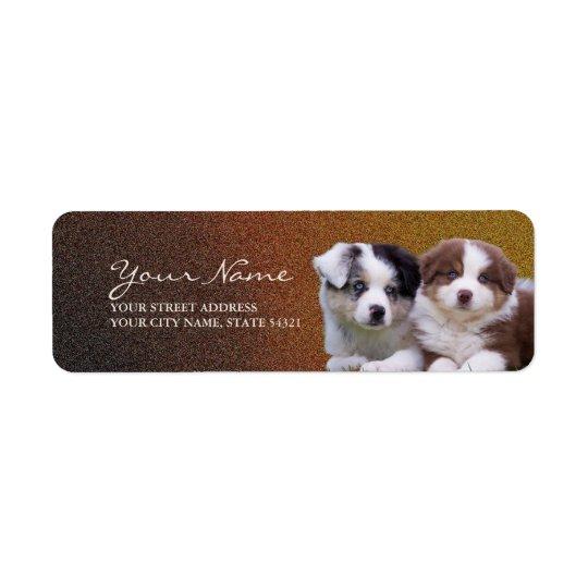 Etiqueta australiana del remite de los perritos etiquetas de remite
