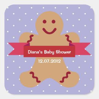 Etiqueta azul de la fiesta de bienvenida al bebé