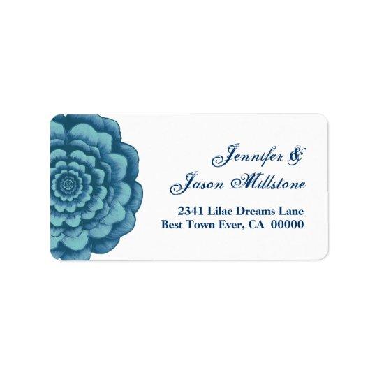 Etiqueta azul del boda de la flor etiqueta de dirección