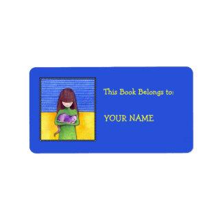 Etiqueta azul del Bookplate de la abrazo del gato Etiqueta De Dirección