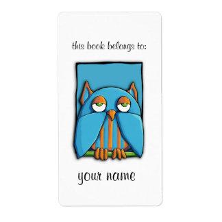 Etiqueta azul del Bookplate del búho azul Etiquetas De Envío