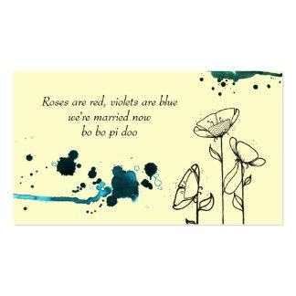 Etiqueta azul del favor de las flores enturbiadas tarjetas de visita