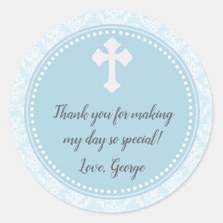 Etiqueta azul del favor del regalo del damasco del