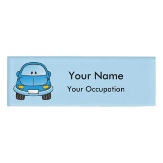 Etiqueta azul del nombre del coche del dibujo