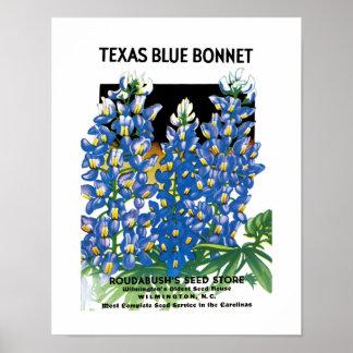 Etiqueta azul del paquete de la semilla del capo póster