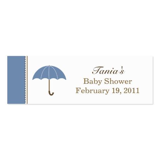 Etiqueta azul del paraguas pequeña plantilla de tarjeta personal