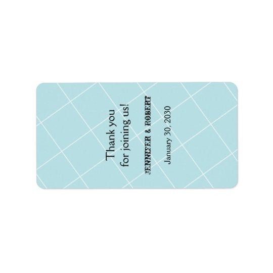 Etiqueta azul del protector labial del boda de