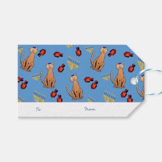 Etiqueta azul del regalo de Dreidel del gato de Etiquetas Para Regalos