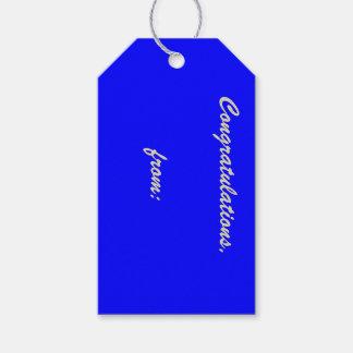 Etiqueta azul del regalo de la enhorabuena etiquetas para regalos
