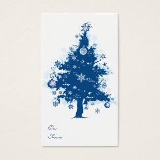 Etiqueta azul del regalo del árbol de navidad