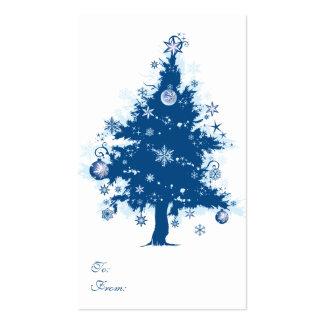 Etiqueta azul del regalo del árbol de navidad tarjetas de visita