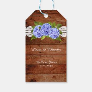 Etiqueta azul del regalo del favor del boda del