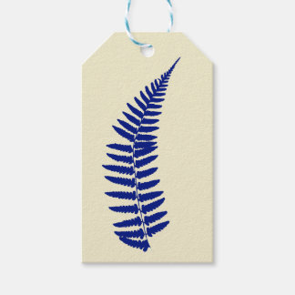 Etiqueta azul del regalo del helecho