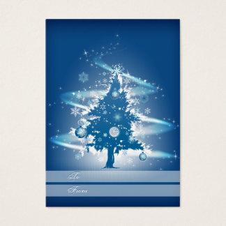 Etiqueta azul del regalo del navidad del árbol de