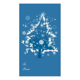 Etiqueta azul del regalo del navidad del árbol de  tarjeta de negocio