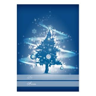 Etiqueta azul del regalo del navidad del árbol de tarjetas de visita grandes