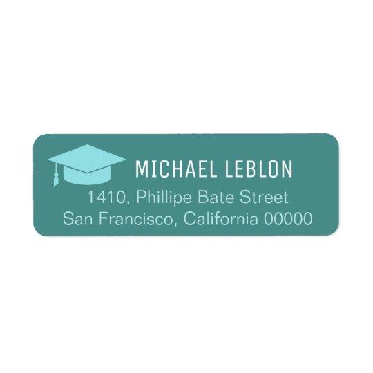 etiqueta azul del remite con la graduación
