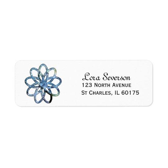 Etiqueta azul del remite de la flor del Hydrangea Etiqueta De Remitente