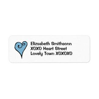 Etiqueta azul del remite del corazón del adorno de etiqueta de remitente