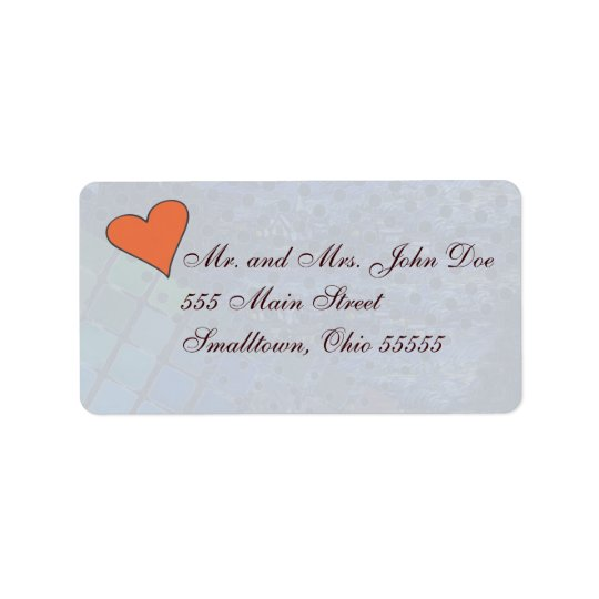 Etiqueta azul hermosa de la invitación del corazón etiquetas de dirección