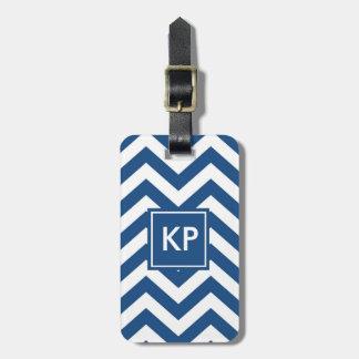 Etiqueta azul personalizada monograma del equipaje