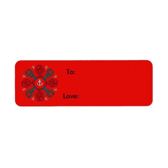 Etiqueta Azul rojo de N.S. Christmas del ancla del copo de