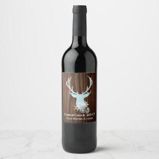 Etiqueta azul rústica del vino del navidad de la