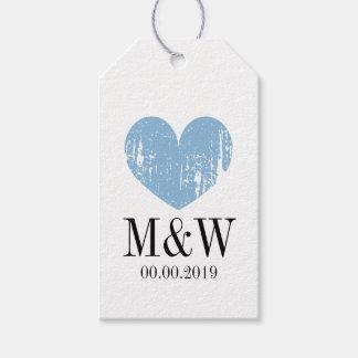 Etiqueta azul rústica elegante del regalo del etiquetas para regalos
