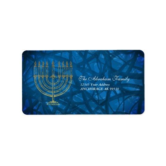 Etiqueta Azul y oro elegantes Jánuca
