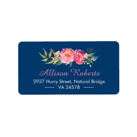 Etiqueta Azules marinos florales botánicos rosados rojos
