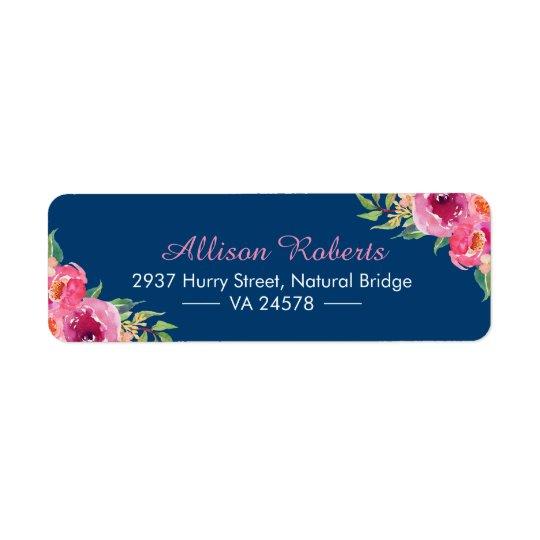 Etiqueta Azules marinos florales rosados rojos púrpuras de