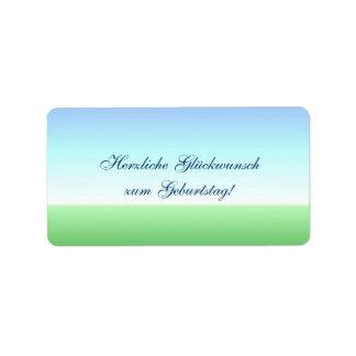 Etiqueta azulverde alemana del feliz cumpleaños etiquetas de dirección