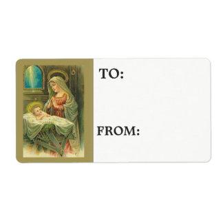 Etiqueta Bebé bendecido Jesús de la madre del Virgen María