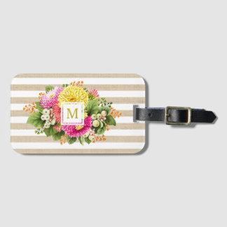 Etiqueta beige del equipaje de las rosas fuertes