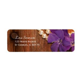 Etiqueta Bígaro, perlas y país púrpuras de madera del