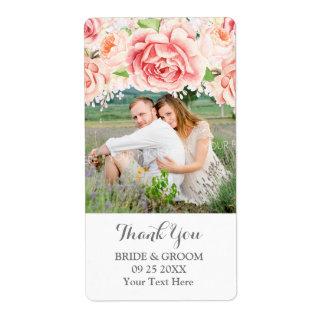 Etiqueta blanca del boda de la foto del rosa de la